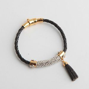 Henri Bendel Zircon Leather Tassel Bracelet